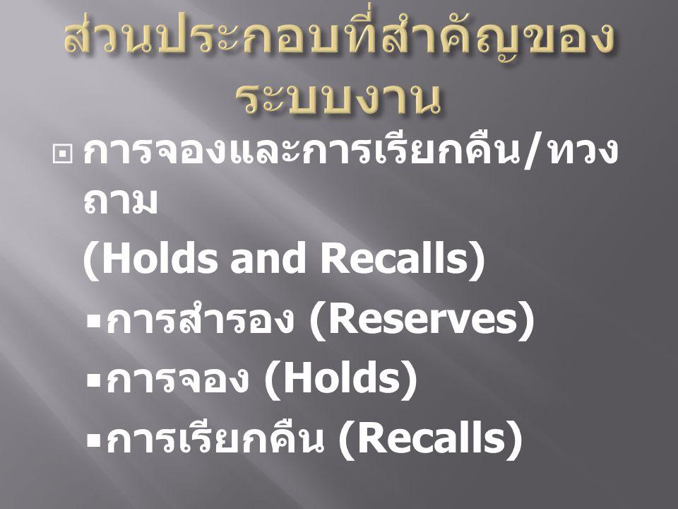  การจองและการเรียกคืน / ทวง ถาม (Holds and Recalls)  การสำรอง (Reserves)  การจอง (Holds)  การเรียกคืน (Recalls)