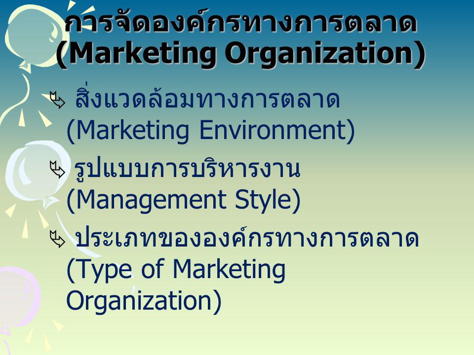 การจัดองค์กรทางการตลาด (Marketing Organization)  สิ่งแวดล้อมทางการตลาด (Marketing Environment)  รูปแบบการบริหารงาน (Management Style)  ประเภทขององค