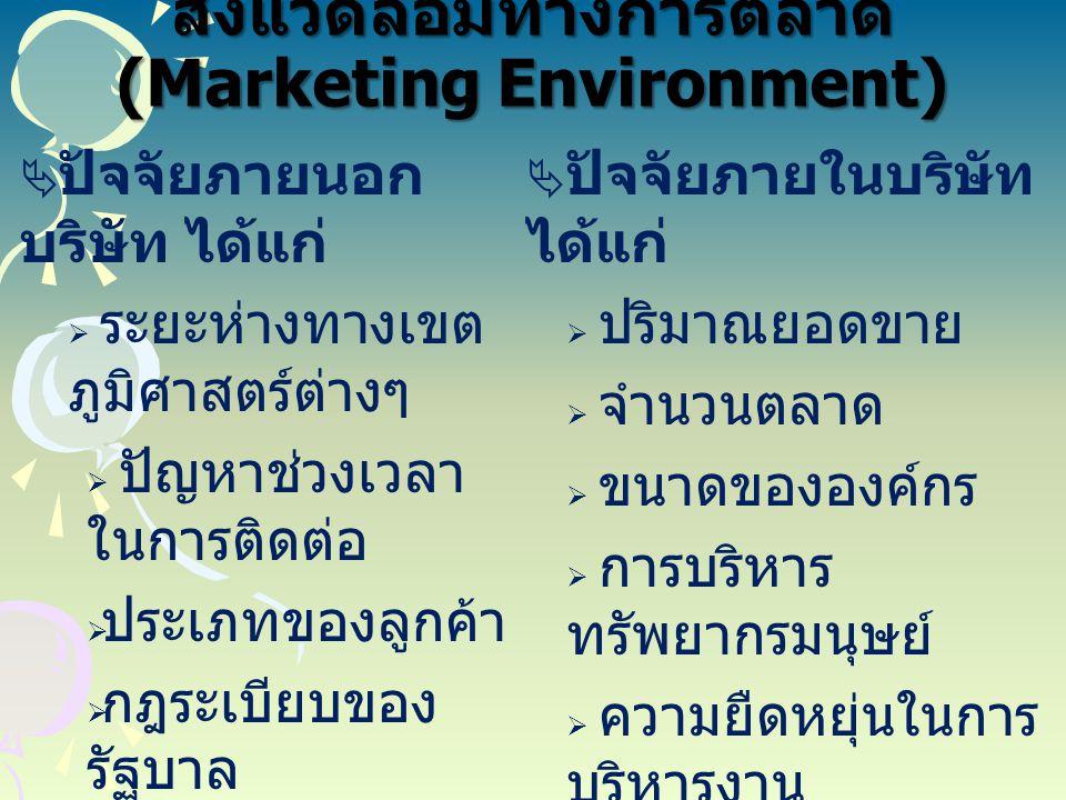 สิ่งแวดล้อมทางการตลาด (Marketing Environment)  ปัจจัยภายนอก บริษัท ได้แก่  ระยะห่างทางเขต ภูมิศาสตร์ต่างๆ  ปัญหาช่วงเวลา ในการติดต่อ  ประเภทของลูก