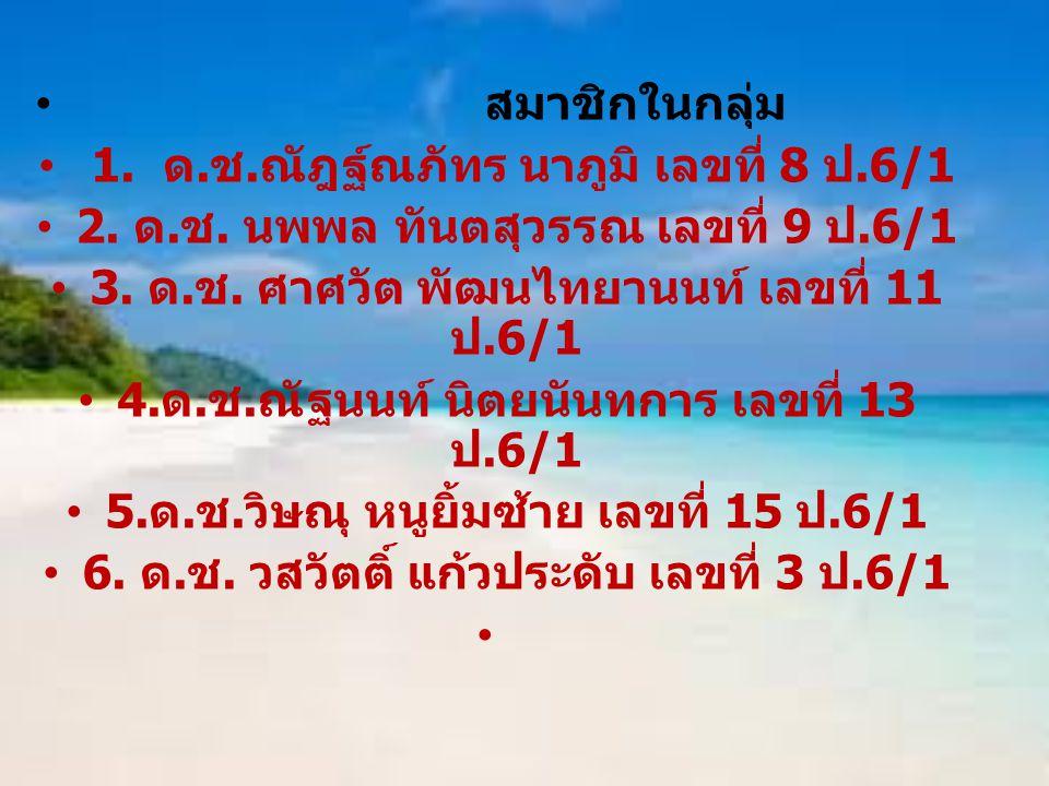สมาชิกในกลุ่ม 1. ด. ช. ณัฎฐ์ณภัทร นาภูมิ เลขที่ 8 ป.6/1 2. ด. ช. นพพล ทันตสุวรรณ เลขที่ 9 ป.6/1 3. ด. ช. ศาศวัต พัฒนไทยานนท์ เลขที่ 11 ป.6/1 4. ด. ช.