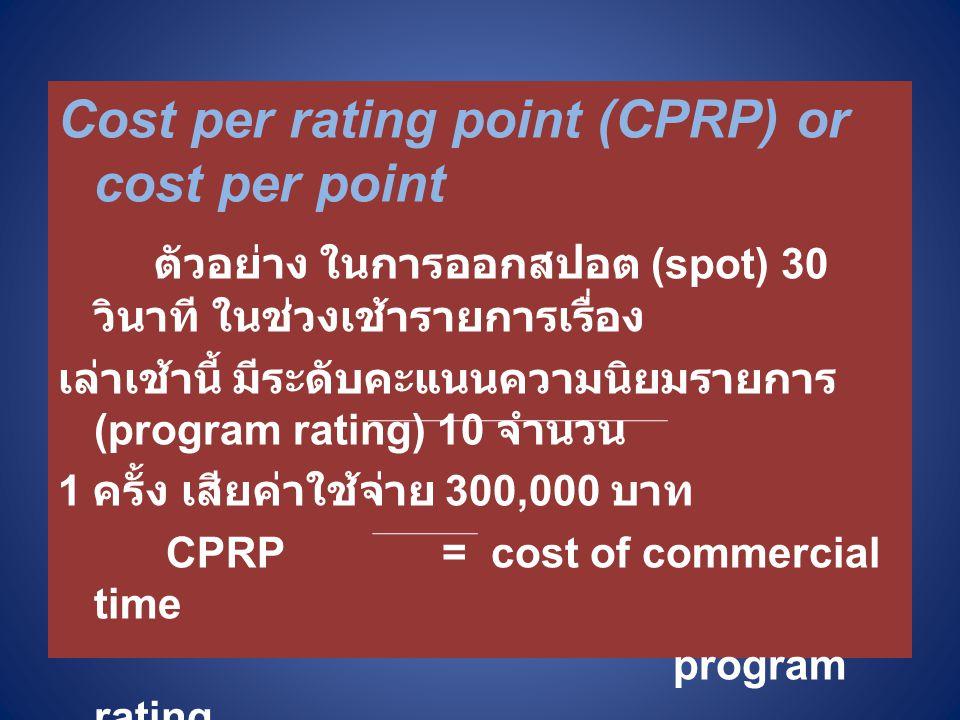 Cost per rating point (CPRP) or cost per point ตัวอย่าง ในการออกสปอต (spot) 30 วินาที ในช่วงเช้ารายการเรื่อง เล่าเช้านี้ มีระดับคะแนนความนิยมรายการ (program rating) 10 จำนวน 1 ครั้ง เสียค่าใช้จ่าย 300,000 บาท CPRP= cost of commercial time program rating = 300,000 10 = 30,000 บาท