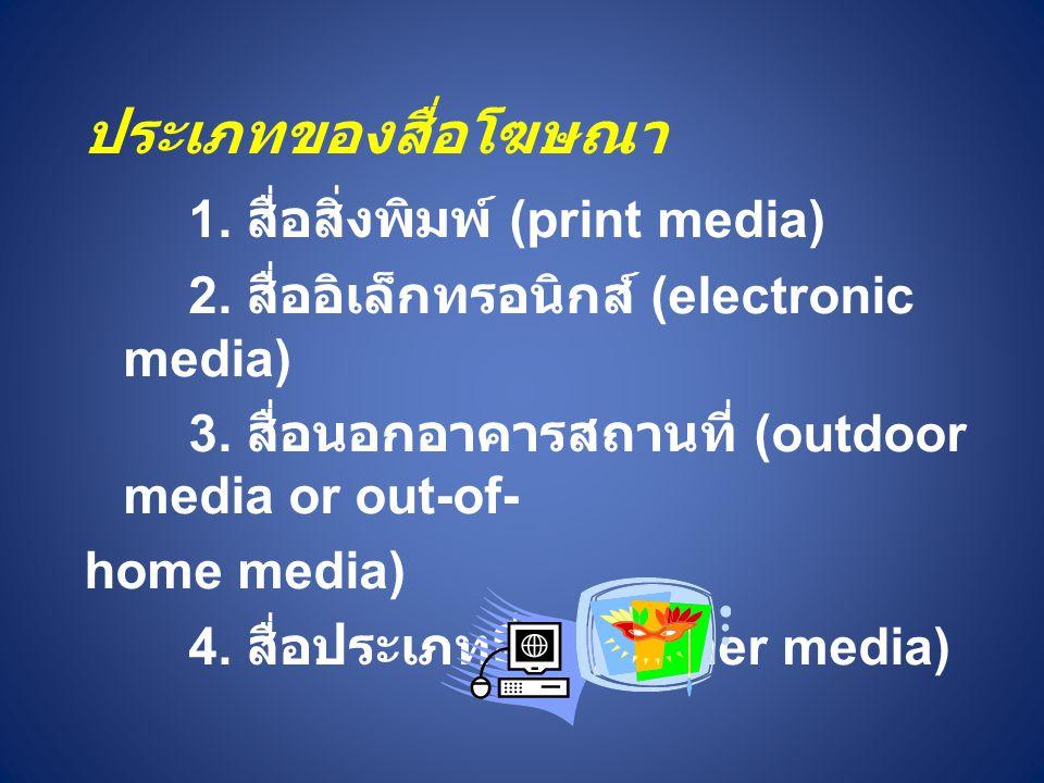 ประเภทของสื่อโฆษณา 1.สื่อสิ่งพิมพ์ (print media) 2.
