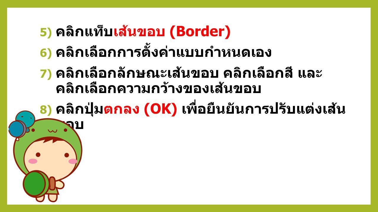 การปรับแต่งลักษณะเส้นขอบ 1) คลิกเมาส์ลากคลุมตาราง ( คลุมดำตาราง ) 2) คลิกแถบเมนู ออกแบบ (Design) ของ เครื่องมือตาราง 3) คลิกปุ่ม เส้นขอบ (Border) 4) ค