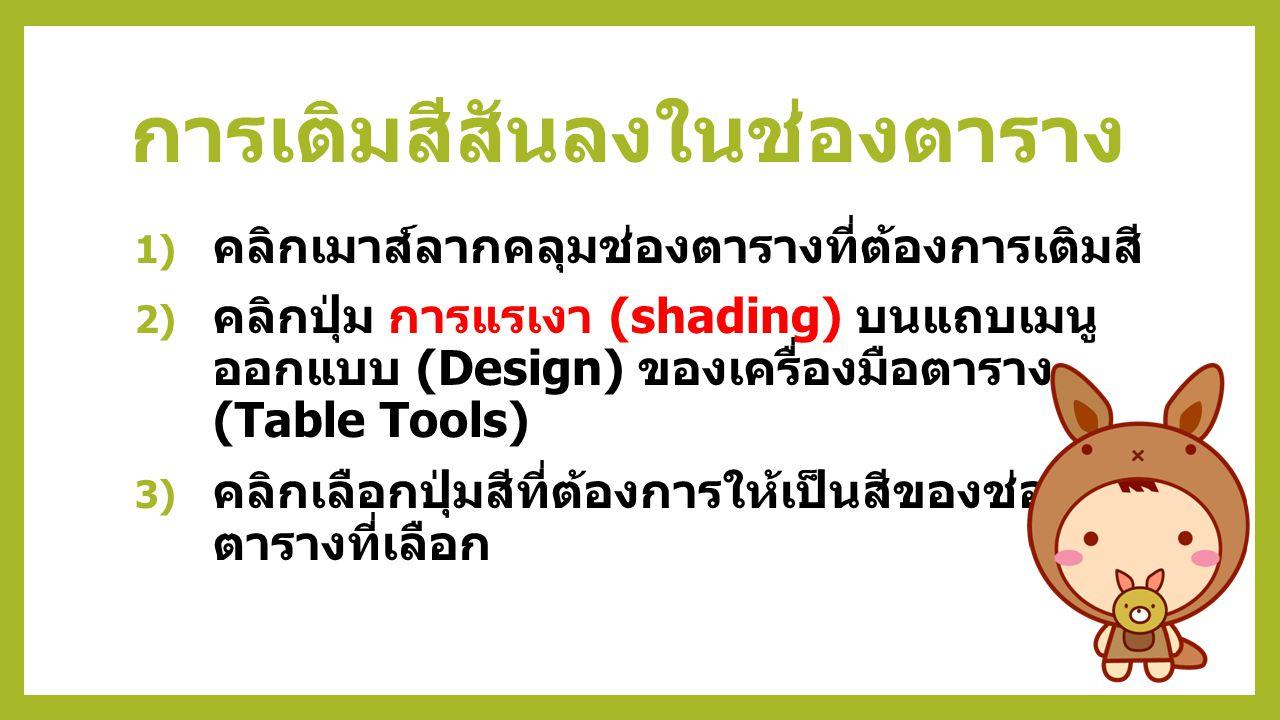 5) คลิกแท็บเส้นขอบ (Border) 6) คลิกเลือกการตั้งค่าแบบกำหนดเอง 7) คลิกเลือกลักษณะเส้นขอบ คลิกเลือกสี และ คลิกเลือกความกว้างของเส้นขอบ 8) คลิกปุ่มตกลง (