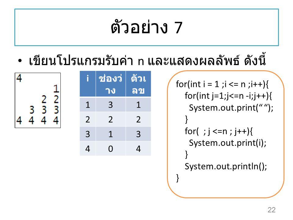"""ตัวอย่าง 7 เขียนโปรแกรมรับค่า n และแสดงผลลัพธ์ ดังนี้ 22 for(int i = 1 ;i <= n ;i++){ for(int j=1;j<=n -i;j++){ System.out.print("""" """"); } for( ; j <=n"""
