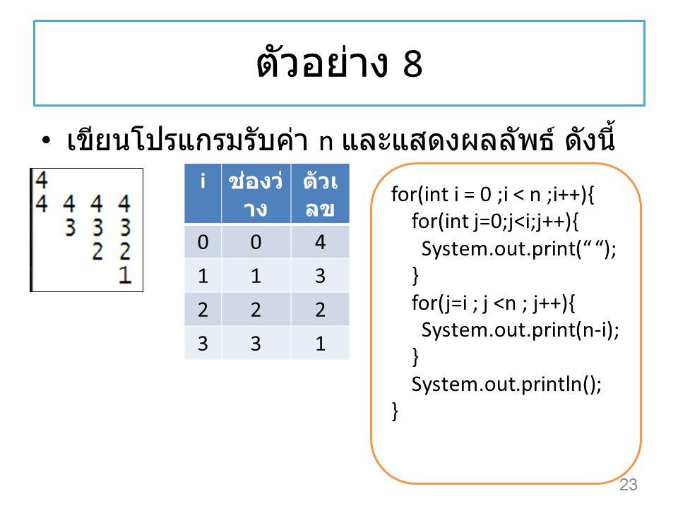 """ตัวอย่าง 8 เขียนโปรแกรมรับค่า n และแสดงผลลัพธ์ ดังนี้ 23 for(int i = 0 ;i < n ;i++){ for(int j=0;j<i;j++){ System.out.print("""" """"); } for(j=i ; j <n ; j"""