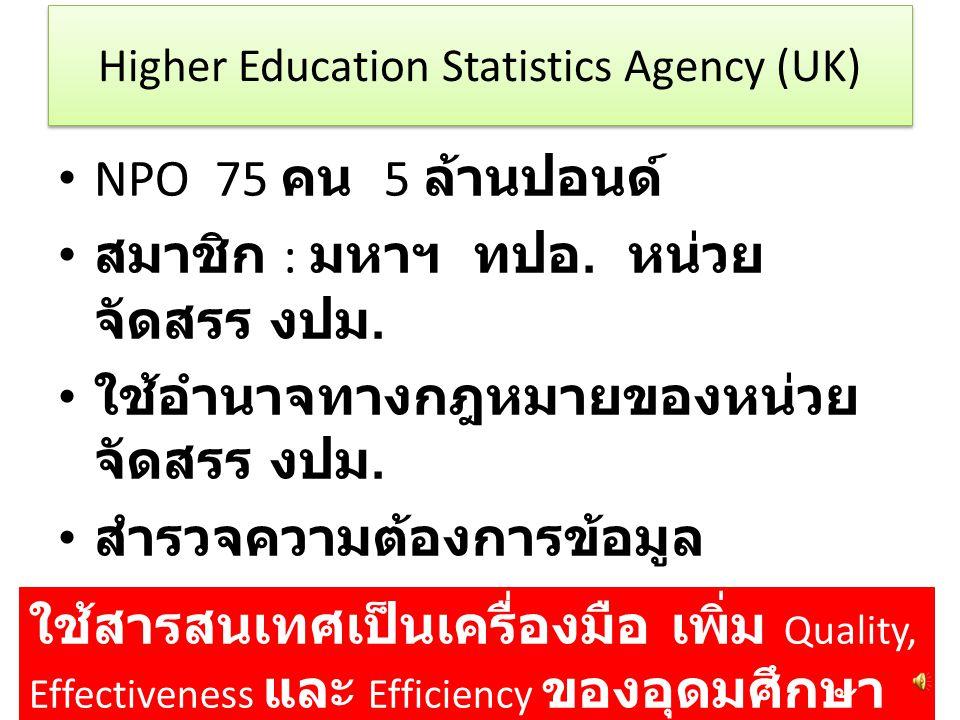 Higher Education Statistics Agency (UK) NPO 75 คน 5 ล้านปอนด์ สมาชิก : มหาฯ ทปอ.