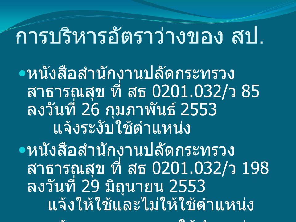 การบริหารอัตราว่างของ สป. หนังสือสำนักงานปลัดกระทรวง สาธารณสุข ที่ สธ 0201.032/ ว 85 ลงวันที่ 26 กุมภาพันธ์ 2553 แจ้งระงับใช้ตำแหน่ง หนังสือสำนักงานปล