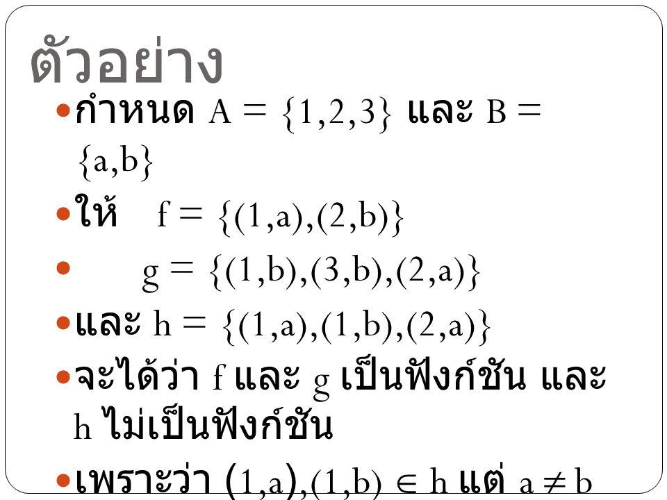 ตัวอย่าง กำหนด A = {1,2,3} และ B = {a,b} ให้ f = {(1,a),(2,b)} g = {(1,b),(3,b),(2,a)} และ h = {(1,a),(1,b),(2,a)} จะได้ว่า f และ g เป็นฟังก์ชัน และ h