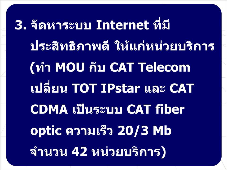3. จัดหาระบบ Internet ที่มี ประสิทธิภาพดี ให้แก่หน่วยบริการ (ทำ MOU กับ CAT Telecom เปลี่ยน TOT IPstar และ CAT CDMA เป็นระบบ CAT fiber optic ความเร็ว
