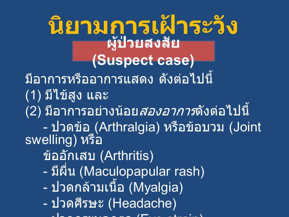 นิยามการเฝ้าระวัง มีอาการหรืออาการแสดง ดังต่อไปนี้ (1) มีไข้สูง และ (2) มีอาการอย่างน้อยสองอาการดังต่อไปนี้ - ปวดข้อ (Arthralgia) หรือข้อบวม (Joint swelling) หรือ ข้ออักเสบ (Arthritis) - มีผื่น (Maculopapular rash) - ปวดกล้ามเนื้อ (Myalgia) - ปวดศีรษะ (Headache) - ปวดกระบอกตา (Eye strain) ผู้ป่วยสงสัย (Suspect case)