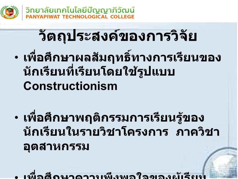 วัตถุประสงค์ของการวิจัย เพื่อศึกษาผลสัมฤทธิ์ทางการเรียนของ นักเรียนที่เรียนโดยใช้รูปแบบ Constructionism เพื่อศึกษาพฤติกรรมการเรียนรู้ของ นักเรียนในราย