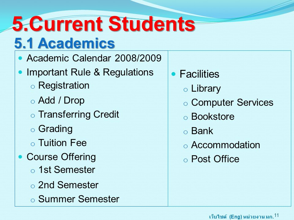 5.1 Academics Academic Calendar 2008/2009 Important Rule & Regulations o Registration o Add / Drop o Transferring Credit o Grading o Tuition Fee Course Offering o 1st Semester o 2nd Semester o Summer Semester 11 5.Current Students Facilities o Library o Computer Services o Bookstore o Bank o Accommodation o Post Office เว็บไซต์ (Eng) หน่วยงาน มก.