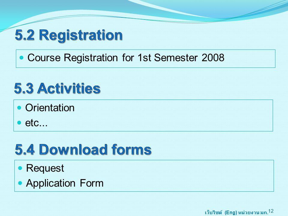 Course Registration for 1st Semester 2008 12 Orientation etc...