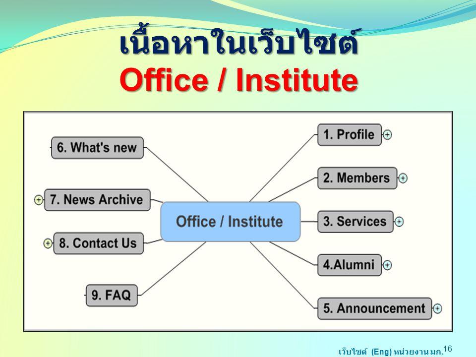 เนื้อหาในเว็บไซต์ Office / Institute 16 เว็บไซต์ (Eng) หน่วยงาน มก.