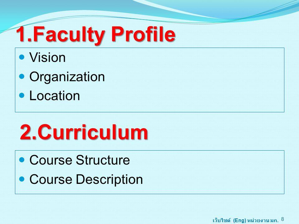 1.Faculty Profile Vision Organization Location 8 2.Curriculum เว็บไซต์ (Eng) หน่วยงาน มก. Course Structure Course Description
