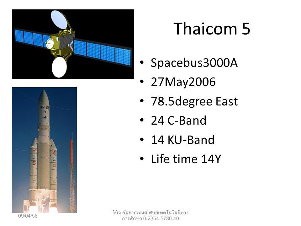 Thaicom 5 Spacebus3000A 27May2006 78.5degree East 24 C-Band 14 KU-Band Life time 14Y 09/04/58 วินิจ กัลยาณพงศ์ ศูนย์เทคโนโลยีทาง การศึกษา 0-2354-5730-40