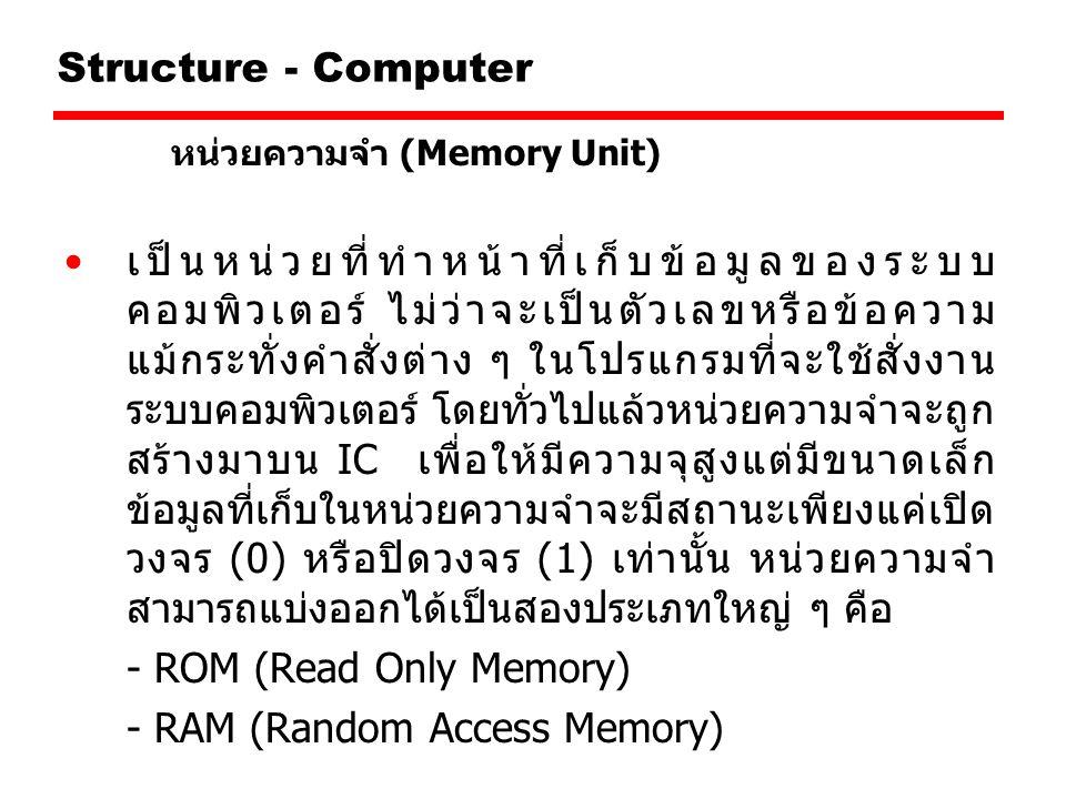 Structure - Computer หน่วยความจำ (Memory Unit) เป็นหน่วยที่ทำหน้าที่เก็บข้อมูลของระบบ คอมพิวเตอร์ ไม่ว่าจะเป็นตัวเลขหรือข้อความ แม้กระทั่งคำสั่งต่าง ๆ