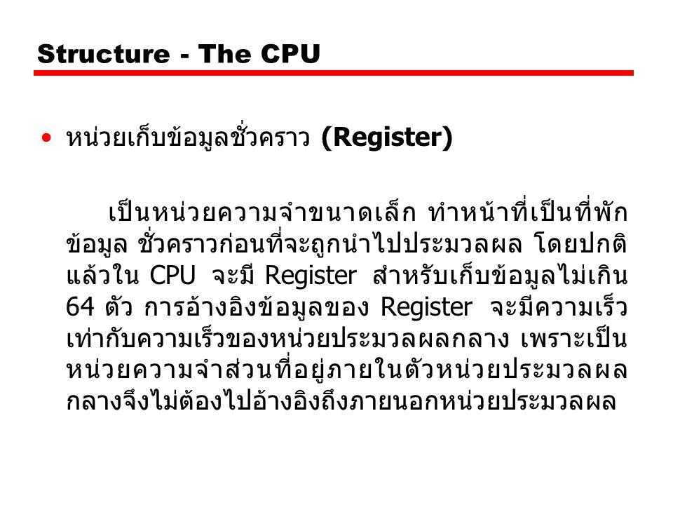 Structure - The CPU หน่วยเก็บข้อมูลชั่วคราว (Register) เป็นหน่วยความจำขนาดเล็ก ทำหน้าที่เป็นที่พัก ข้อมูล ชั่วคราวก่อนที่จะถูกนำไปประมวลผล โดยปกติ แล้