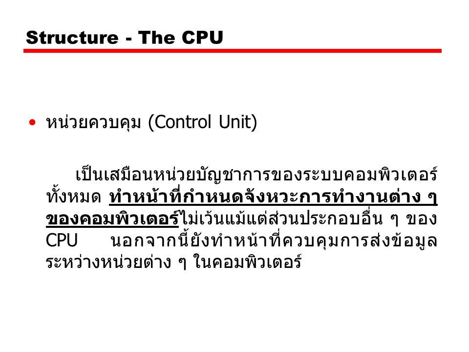 Structure - The CPU หน่วยควบคุม (Control Unit) เป็นเสมือนหน่วยบัญชาการของระบบคอมพิวเตอร์ ทั้งหมด ทำหน้าที่กำหนดจังหวะการทำงานต่าง ๆ ของคอมพิวเตอร์ไม่เ