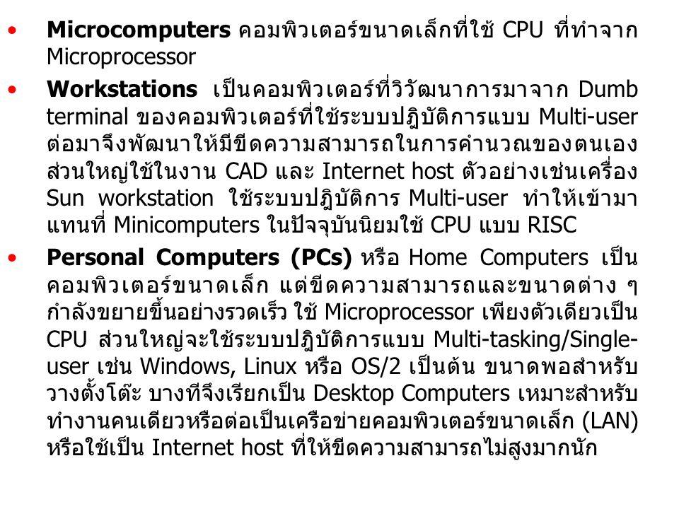 Microcomputers คอมพิวเตอร์ขนาดเล็กที่ใช้ CPU ที่ทำจาก Microprocessor Workstations เป็นคอมพิวเตอร์ที่วิวัฒนาการมาจาก Dumb terminal ของคอมพิวเตอร์ที่ใช้
