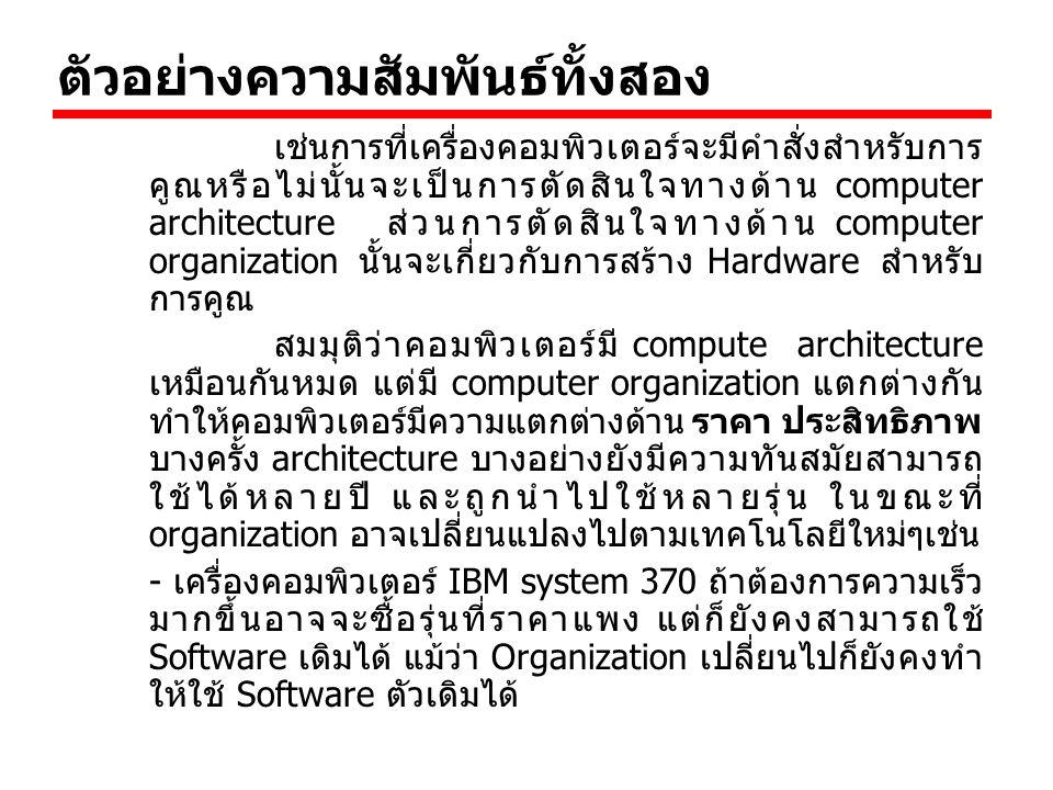 ตัวอย่างความสัมพันธ์ทั้งสอง เช่นการที่เครื่องคอมพิวเตอร์จะมีคำสั่งสำหรับการ คูณหรือไม่นั้นจะเป็นการตัดสินใจทางด้าน computer architecture ส่วนการตัดสิน