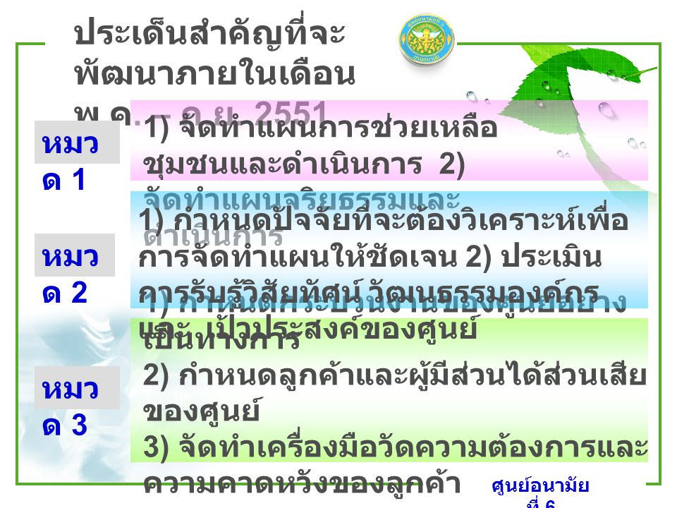 www.themegallery.com LOGO ศูนย์อนามัย ที่ 6 ประเด็นสำคัญที่จะ พัฒนาภายในเดือน พ. ค. – ก. ย. 2551 1) กำหนดกระบวนงานของศูนย์อย่าง เป็นทางการ 2) กำหนดลูก