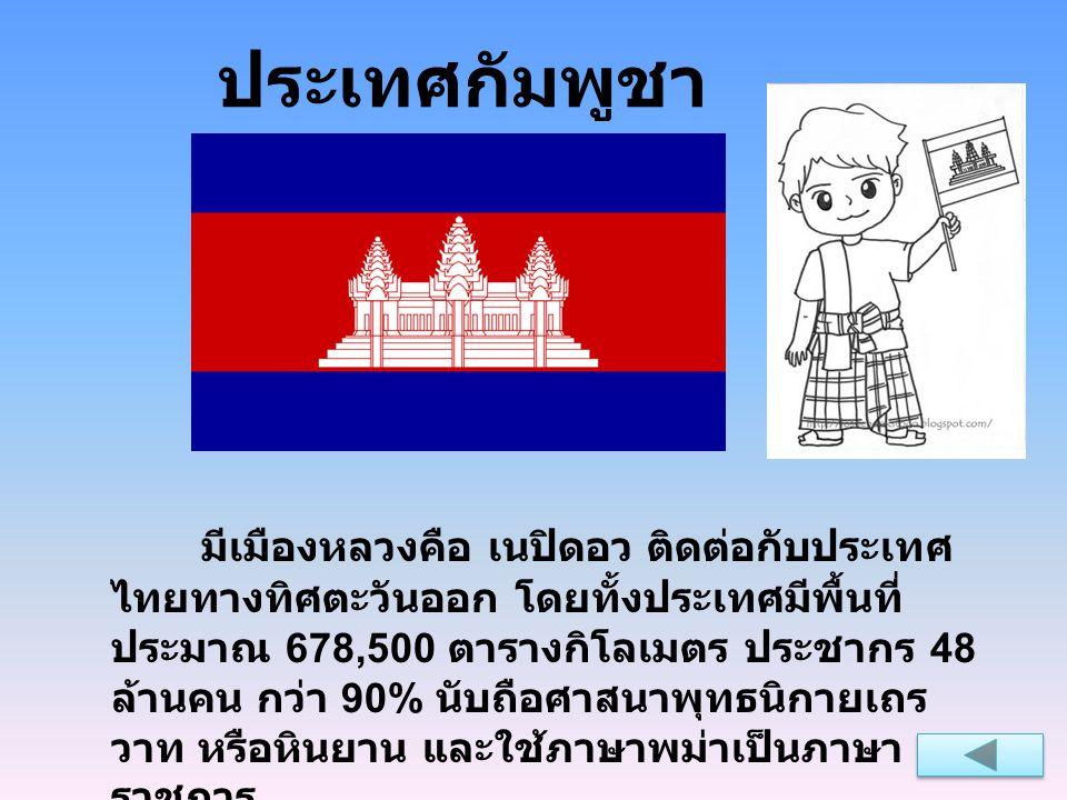 ประเทศลาว เมืองหลวงคือ เวียงจันทน์ ติดต่อกับประเทศไทย ทางทิศตะวันตก โดยประเทศลาวมีพื้นที่ประมาณ ครึ่งหนึ่งของประเทศไทย คือ 236,800 ตารางกิโลเมตร พื้นที่กว่า 90% เป็นภูเขาและที่ราบสูง และไม่มีพื้นที่ส่วน ใดติดทะเล ปัจจุบัน ปกครองด้วยระบอบสังคมนิยม โดย มีประชากร 6.4 ล้านคน ใช้ภาษาลาวเป็นภาษาหลัก แต่ ก็มีคนที่พูดภาษาไทย ภาษาอังกฤษ และภาษาฝรั่งเศส ได้ ประชากรส่วนใหญ่นับถือศาสนาพุทธ