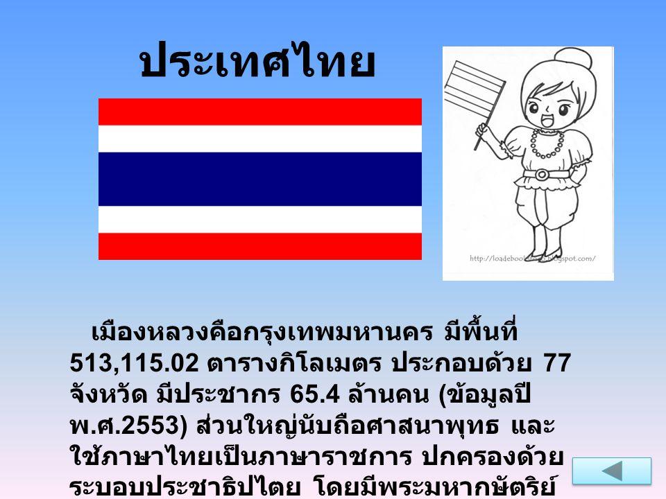 ประเทศไทย เมืองหลวงคือกรุงเทพมหานคร มีพื้นที่ 513,115.02 ตารางกิโลเมตร ประกอบด้วย 77 จังหวัด มีประชากร 65.4 ล้านคน ( ข้อมูลปี พ. ศ.2553) ส่วนใหญ่นับถื