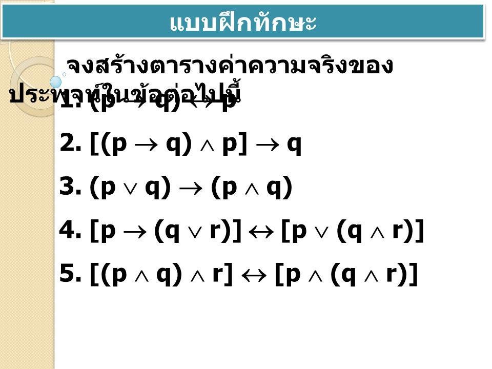 ตัวอย่างที่ 3 จงสร้างตารางค่าความจริงของ (p   r)   q วิธี ทำ p qr qq rrp   r (p   r)   q TTTFFTF TTFFTTF TFTTFTT TFFTTTT FTTFFFF FTFFTTF