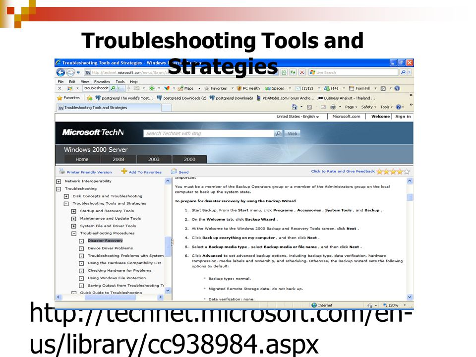 http://technet.microsoft.com/en- us/library/cc938984.aspx Troubleshooting Tools and Strategies