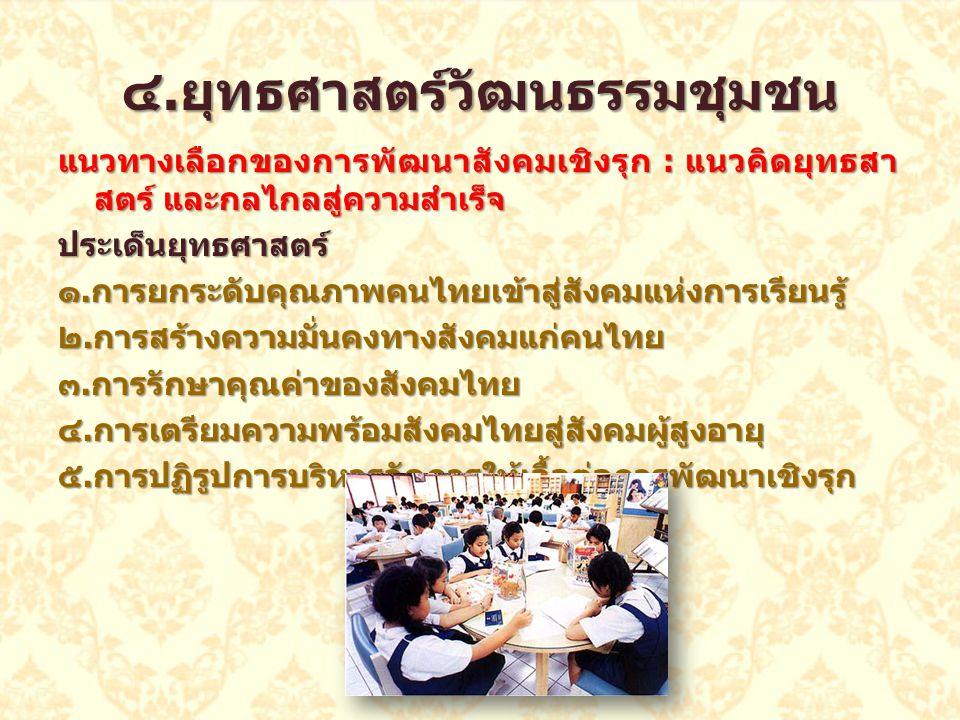 แนวทางเลือกของการพัฒนาสังคมเชิงรุก : แนวคิดยุทธสา สตร์ และกลไกลสู่ความสำเร็จ ประเด็นยุทธศาสตร์ ๑. การยกระดับคุณภาพคนไทยเข้าสู่สังคมแห่งการเรียนรู้ ๒.