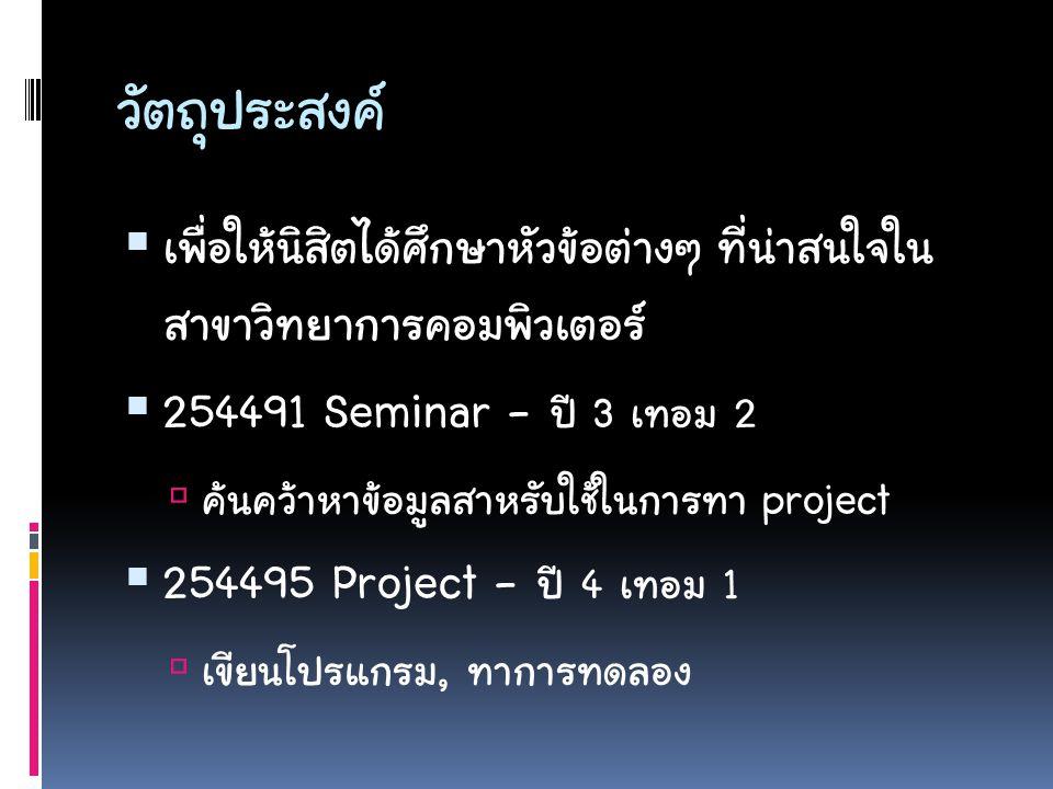 ตัวอย่างโปรเจ็ค/ ไม่ใช่โปรเจ็ค  CAI สอนภาษาไทย  CAI สอนภาษาไทยพร้อมเกมส์ฝึกทักษะ  เกมส์จับผิดภาพ  เกมส์จับผิดภาพแข่งกันผ่านระบบเน็ตเวิร์ค  พจนานุกรมไทย-อังกฤษ-จีน-ญี่ปุ่น 1,000,000 คำ  พจนานุกรมที่ดาวน์โหลดเนื้อหาภาษาใดก็ได้ X X X