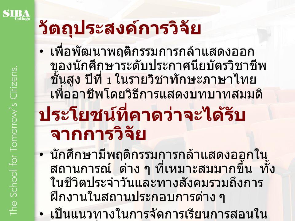 วัตถุประสงค์การวิจัย เพื่อพัฒนาพฤติกรรมการกล้าแสดงออก ของนักศึกษาระดับประกาศนียบัตรวิชาชีพ ชั้นสูง ปีที่ 1 ในรายวิชาทักษะภาษาไทย เพื่ออาชีพโดยวิธีการแ