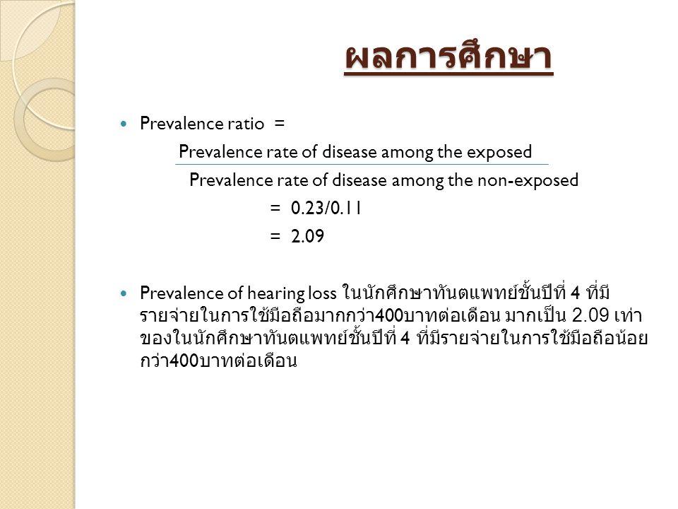 ผลการศึกษา ผลการศึกษา Prevalence ratio = Prevalence rate of disease among the exposed Prevalence rate of disease among the non-exposed = 0.23/0.11 = 2.09 Prevalence of hearing loss ในนักศึกษาทันตแพทย์ชั้นปีที่ 4 ที่มี รายจ่ายในการใช้มือถือมากกว่า 400 บาทต่อเดือน มากเป็น 2.09 เท่า ของในนักศึกษาทันตแพทย์ชั้นปีที่ 4 ที่มีรายจ่ายในการใช้มือถือน้อย กว่า 400 บาทต่อเดือน