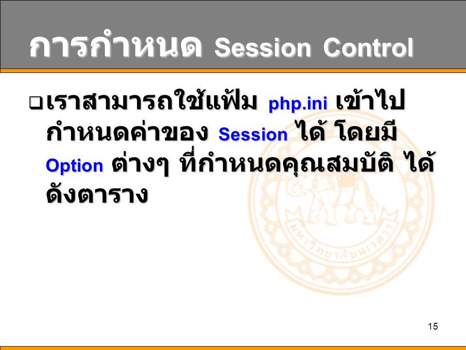 15 การกำหนด Session Control  เราสามารถใช้แฟ้ม php.ini เข้าไป กำหนดค่าของ Session ได้ โดยมี Option ต่างๆ ที่กำหนดคุณสมบัติ ได้ ดังตาราง