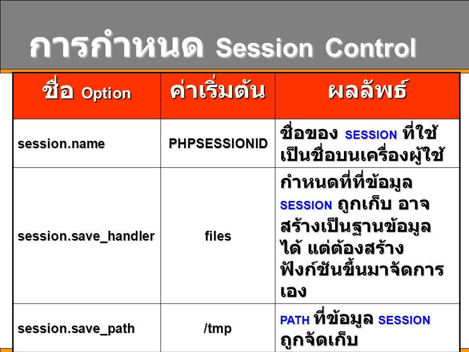17 การกำหนด Session Control ชื่อ Option ค่าเริ่มต้นผลลัพธ์ session.namePHPSESSIONID ชื่อของ SESSION ที่ใช้ เป็นชื่อบนเครื่องผู้ใช้ session.save_handle