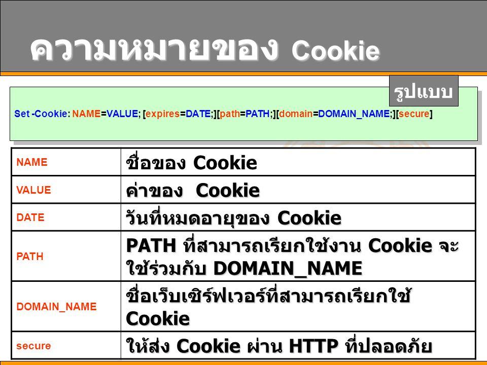 7 ความหมายของ Cookie Set -Cookie: NAME=VALUE; [expires=DATE;][path=PATH;][domain=DOMAIN_NAME;][secure] รูปแบบ NAME ชื่อของ Cookie VALUE ค่าของ Cookie