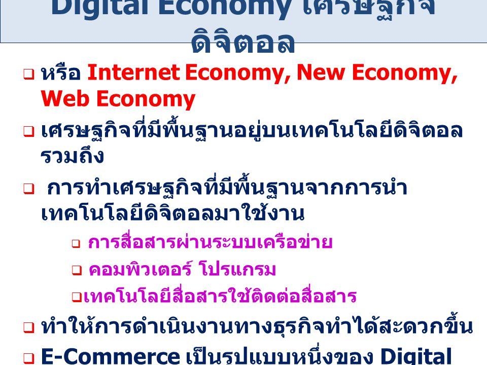 Digital Economy เศรษฐกิจ ดิจิตอล  หรือ Internet Economy, New Economy, Web Economy  เศรษฐกิจที่มีพื้นฐานอยู่บนเทคโนโลยีดิจิตอล รวมถึง  การทำเศรษฐกิจ
