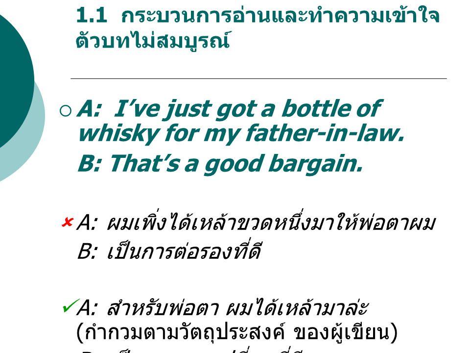 1.1 กระบวนการอ่านและทำความเข้าใจ ตัวบทไม่สมบูรณ์  A: I've just got a bottle of whisky for my father-in-law.