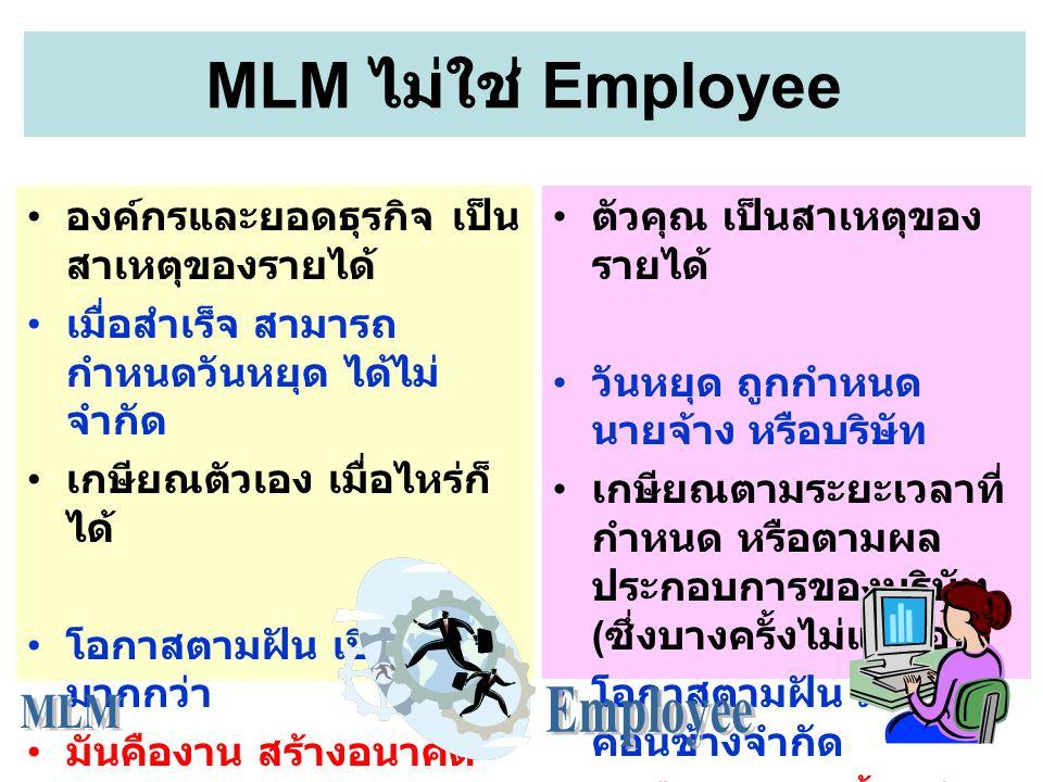 องค์กรและยอดธุรกิจ เป็น สาเหตุของรายได้ เมื่อสำเร็จ สามารถ กำหนดวันหยุด ได้ไม่ จำกัด เกษียณตัวเอง เมื่อไหร่ก็ ได้ โอกาสตามฝัน เปิดกว้าง มากกว่า มันคืองาน สร้างอนาคต MLM ไม่ใช่ Employee ตัวคุณ เป็นสาเหตุของ รายได้ วันหยุด ถูกกำหนด นายจ้าง หรือบริษัท เกษียณตามระยะเวลาที่ กำหนด หรือตามผล ประกอบการของบริษัท ( ซึ่งบางครั้งไม่แน่นอน ) โอกาสตามฝัน มี ค่อนข้างจำกัด มันคืองาน หาเลี้ยงชีพ