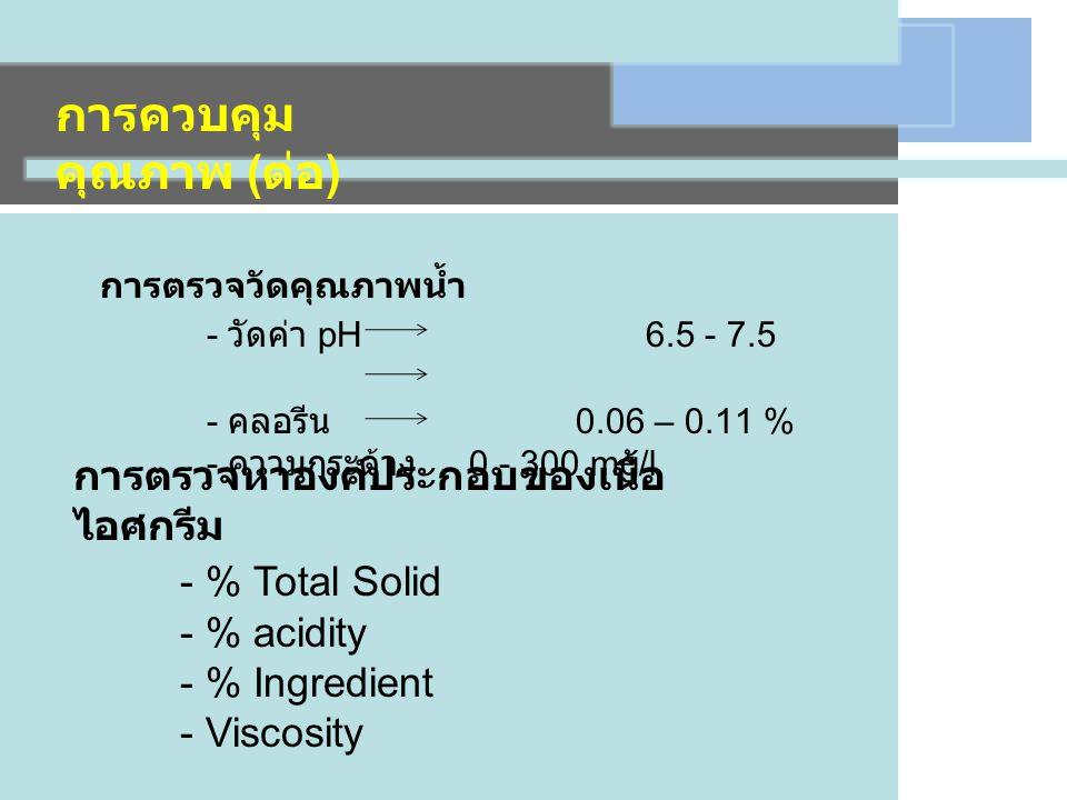 การตรวจวัดคุณภาพน้ำ - วัดค่า pH 6.5 - 7.5 - คลอรีน 0.06 – 0.11 % - ความกระด้าง 0 - 300 mg/l การควบคุม คุณภาพ ( ต่อ ) การตรวจหาองค์ประกอบของเนื้อ ไอศกรีม - % Total Solid - % acidity - % Ingredient - Viscosity