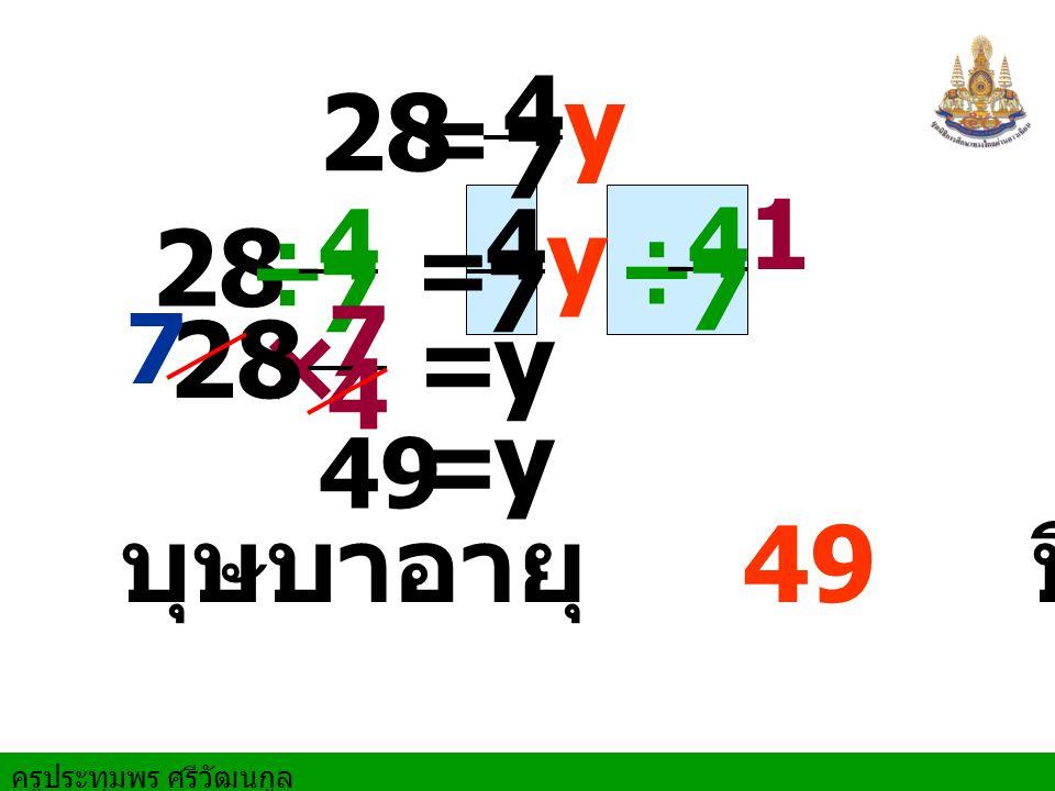 ครูประทุมพร ศรีวัฒนกูล 1 = y 49 = y 28 = y 4 7 28 = y 4 7 ÷ 4 7 ÷ 4 7 × 7 4 บุษบาอายุ 49 ปี 28 7
