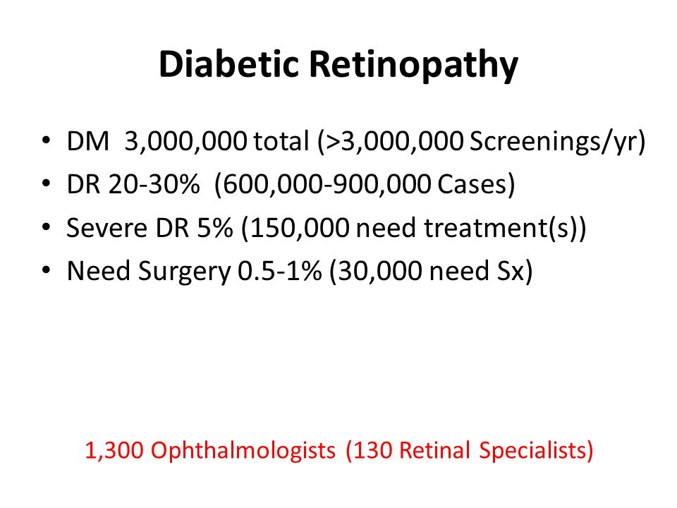 Diabetic Retinopathy DM 3,000,000 total (>3,000,000 Screenings/yr) DR 20-30% (600,000-900,000 Cases) Severe DR 5% (150,000 need treatment(s)) Need Surgery 0.5-1% (30,000 need Sx) 1,300 Ophthalmologists (130 Retinal Specialists)