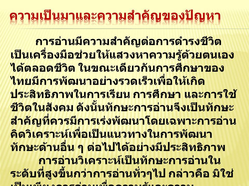 จากการจัดกิจกรรมการเรียนการ สอนวิชาภาษาไทยเพื่ออาชีพ 1 และ 2 แก่ นักศึกษาระดับประกาศนียบัตรวิชาชีพชั้น ปีที่ 1 พบว่านักศึกษาขาดการคิดวิเคราะห์ จากทักษะการอ่าน กล่าวคือนักศึกษาอ่าน แล้วไม่สามารถคิดวิเคราะห์เรื่องที่อ่านได้ อาทิเช่น ข่าว บทความ เรื่องสั้น และ เนื้อหาจากหนังสือเรียน จากสภาพปัญหา ที่ผู้สอนพบจึงสนใจที่จะพัฒนาทักษะการ อ่านคิดวิเคราะห์ โดยใช้การจัดกิจกรรม แบบเทคนิค KWL- Plus เพื่อให้นักศึกษา สามารถคิดวิเคราะห์จากเรื่องที่อ่านและ สามารถนำไปประยุกต์หรือปรับใช้ใน ชีวิตประจำวันได้