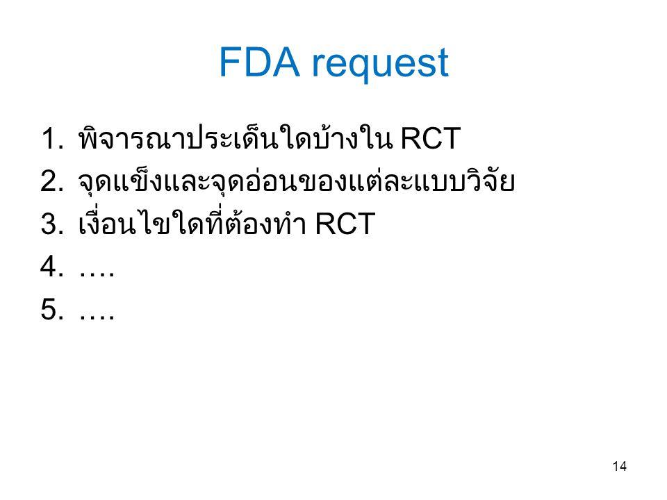 FDA request 1.พิจารณาประเด็นใดบ้างใน RCT 2.จุดแข็งและจุดอ่อนของแต่ละแบบวิจัย 3.เงื่อนไขใดที่ต้องทำ RCT 4.….