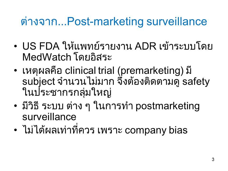 ต่างจาก...Post-marketing surveillance US FDA ให้แพทย์รายงาน ADR เข้าระบบโดย MedWatch โดยอิสระ เหตุผลคือ clinical trial (premarketing) มี subject จำนวนไม่มาก จึงต้องติดตามดู safety ในประชากรกลุ่มใหญ่ มีวิธี ระบบ ต่าง ๆ ในการทำ postmarketing surveillance ไม่ได้ผลเท่าที่ควร เพราะ company bias 3