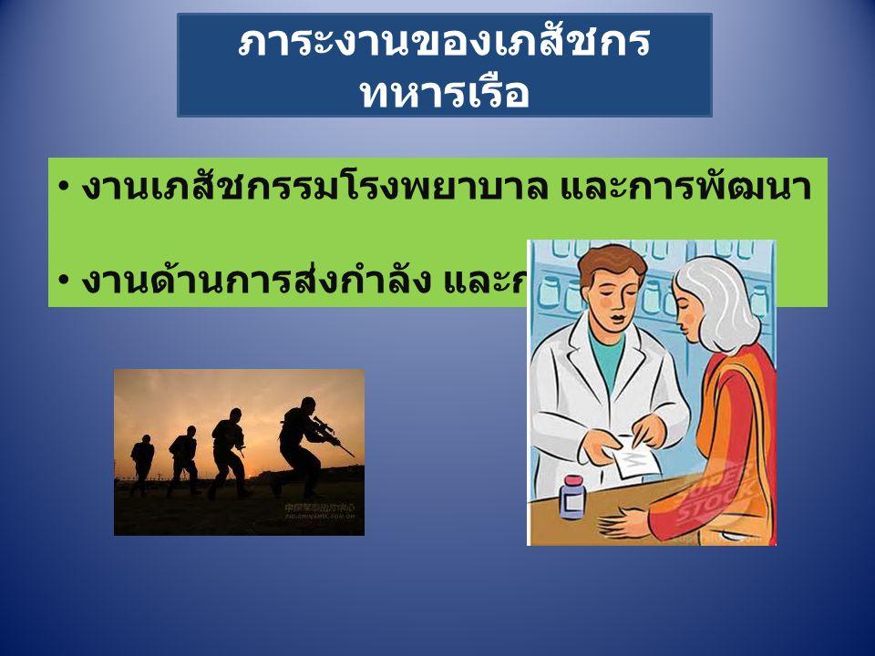 ภาระงานของเภสัชกร ทหารเรือ งานเภสัชกรรมโรงพยาบาล และการพัฒนา งานด้านการส่งกำลัง และการพัฒนา