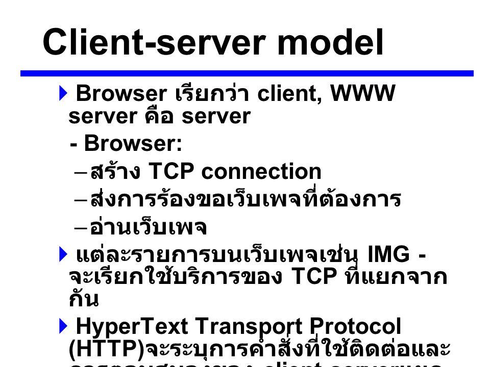 Client-server model  Browser เรียกว่า client, WWW server คือ server - Browser: – สร้าง TCP connection – ส่งการร้องขอเว็บเพจที่ต้องการ – อ่านเว็บเพจ  แต่ละรายการบนเว็บเพจเช่น IMG - จะเรียกใช้บริการของ TCP ที่แยกจาก กัน  HyperText Transport Protocol (HTTP) จะระบุการคำสั่งที่ใช้ติดต่อและ การตอบสนองของ client-server แยก จากคำสั่งที่เรียกใช้ข้อมูล