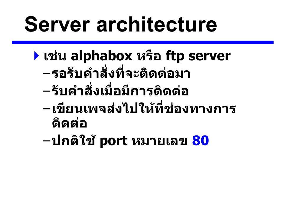Server architecture  เช่น alphabox หรือ ftp server – รอรับคำสั่งที่จะติดต่อมา – รับคำสั่งเมื่อมีการติดต่อ – เขียนเพจส่งไปให้ที่ช่องทางการ ติดต่อ – ปกติใช้ port หมายเลข 80